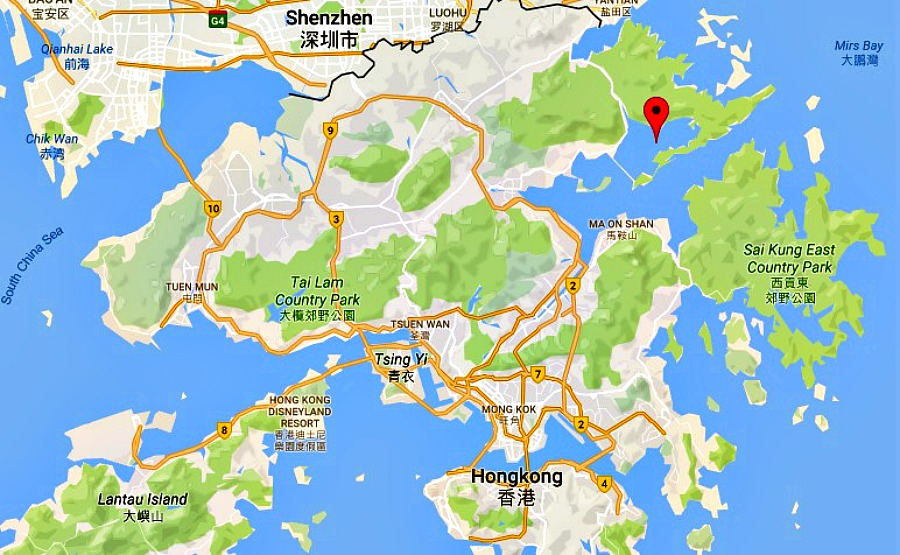 Map Plover Cove en Hongkong