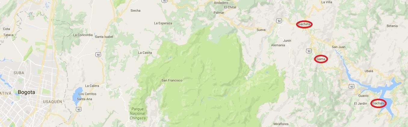 Kaart Cundinamarca Colombia