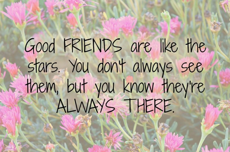 Quote Good FRIENDS are like the stars. You don't always see them, but you know they're ALWAYS THERE.