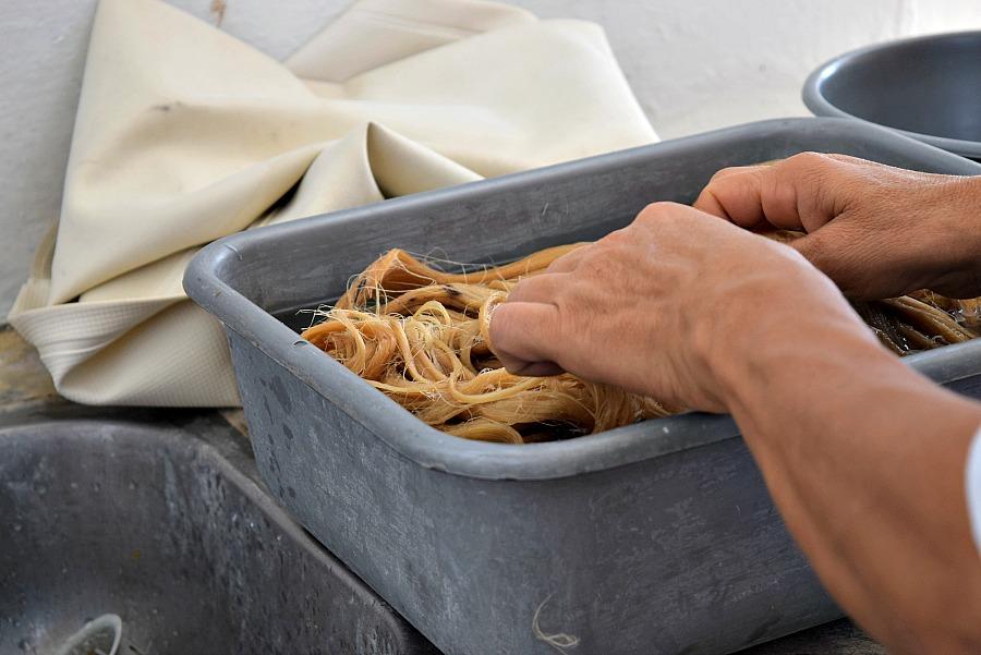Vezels wassen en pletten