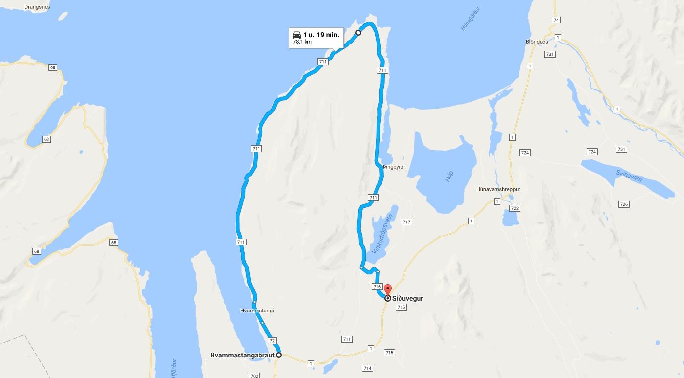 Route IJsland Vatnsnes