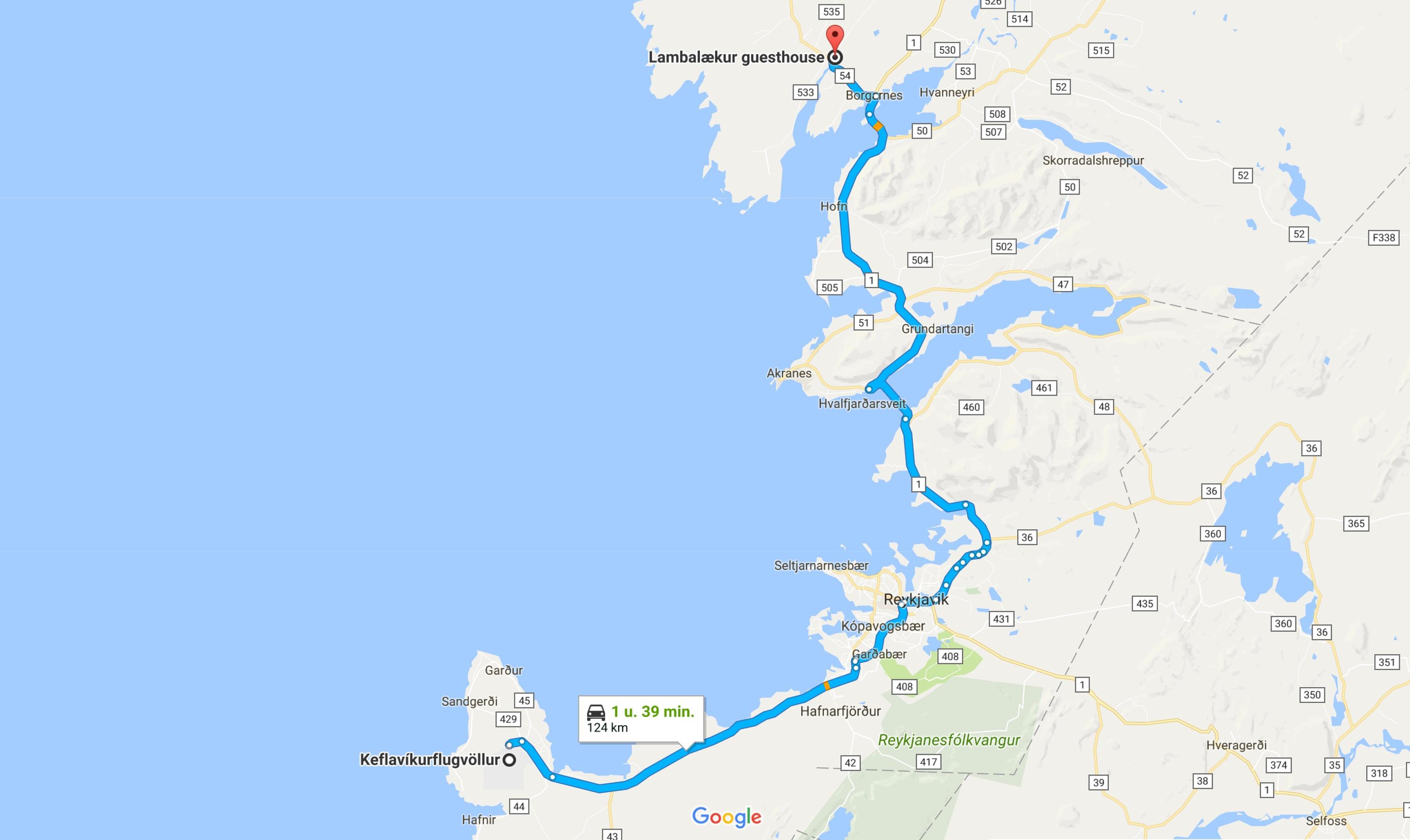 Route IJsland dag 1