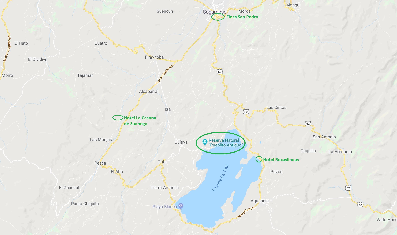 Pueblito en hotels Lago de Tota - kaart