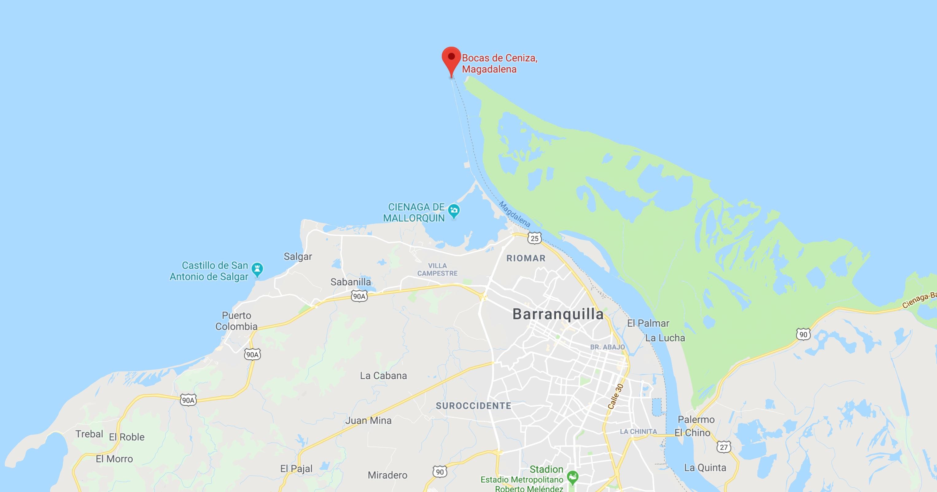 Bocas de Ceniza op de kaart Colombia