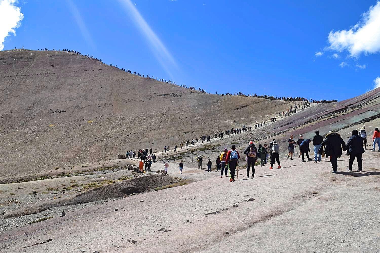 Hoe druk is het op de Rainbow Mountain Cusco Peru