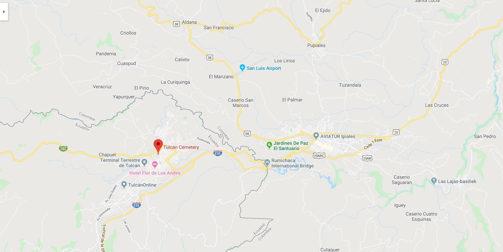 Cementerio de Tulcán Ecuador op de map