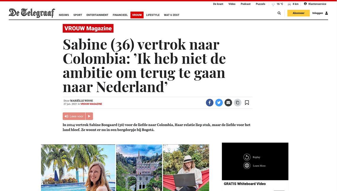 Interview vrouw sabine boogaard Colombia